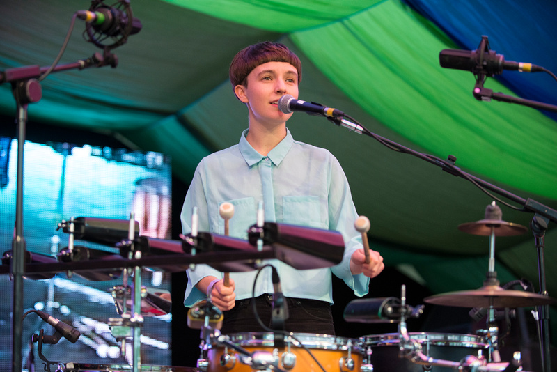 stealing sheep with brass band at Moseley Folk Festival 2014